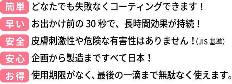 (簡単)どなたでも失敗なくコーティングできます!(早い)お出かけ前の30秒で、長時間効果が持続!(安全)皮膚刺激性や危険な有害性はありません!(JIS基準)(安心)企画から製造まですべて日本!(お得)使用期限がなく、最後の一滴まで無駄なく使えます。